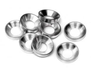 (10) Arandelas Alum. Conicas Plata 4mm