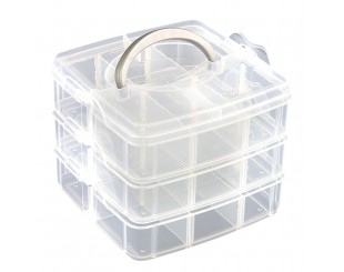 Caja porta Tornillos Transparente 18 comp.